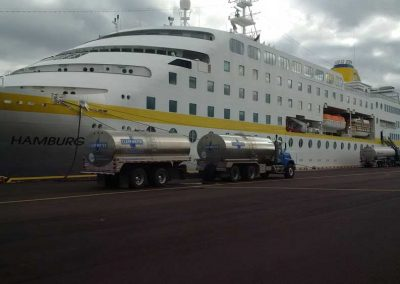 Clearwater in action - Commercial ship and vessel refilling.